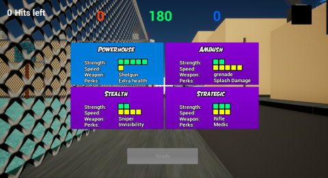 WIP Character class select for World War Sport: Dodgeball in Unreal 4