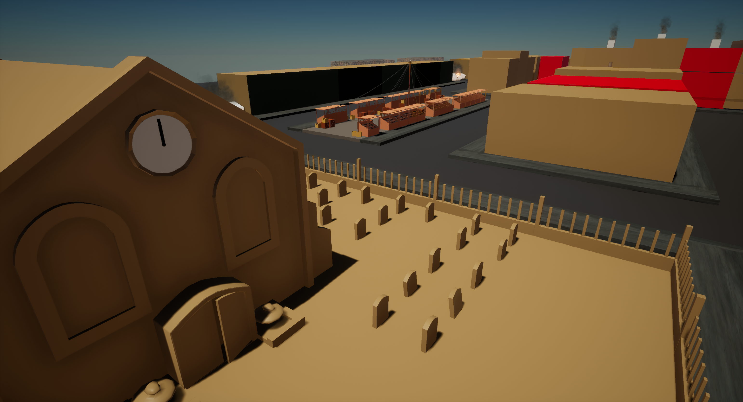 Church and Street Market in WWS: Dodgeball within Unreal Engine
